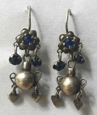 "Handmade Silver Vintage Earrings 4 Guatemala (1.5"" x .5"")"