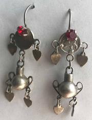"Handmade Silver Vintage Earrings 4 Guatemala (2"" x .6"")"