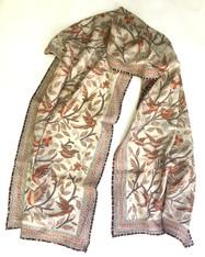 """Hand Embroidered Kantha Silk Bird Scarf India (20"""" x 74"""")"""