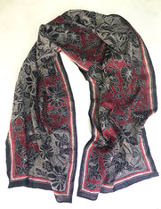 """Hand Embroidered Kantha Silk Floral Scarf India (20"""" x 74"""")"""