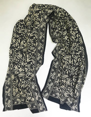 "Hand Embroidered Kantha Silk  Chiffon Scarf India (20"" x 74"")"