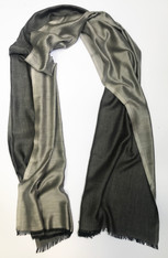 "Silk and Wool Two Tone Grey Scarf Shawl India (29"" x  80"")"