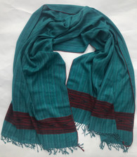 "Handwoven Fine Wool Teal Throw India (40"" x 82"")"