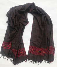 "Handwoven Fine Wool Brown Throw India (40"" x 82"")"