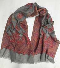 "Fine Wool Brocade Shawl India (27"" x  82"")"