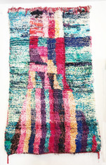 """Handwoven and Hand Knotted Mixed Fiber Boucheroite Rug Morocco (47"""" x 77"""")"""