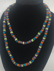 "Hand Knotted Button Bead Long Necklace  B Morocco (24"" drop)"