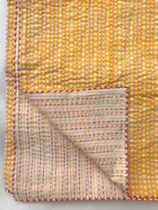 "Handmade Block Printed Lightweight Stitched Gold Coverlet (86"" x 106"")"