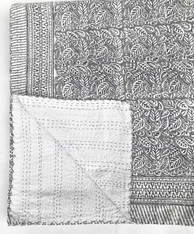 "Handmade Block Printed Lightweight Stitched Grey Coverlet (86"" x 106"")"