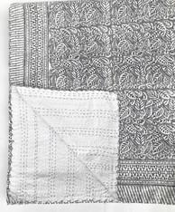 "Handmade Block Printed Lightweight Stitched Grey Coverlet (86"" x 106"")"