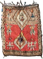 """Handwoven Vintage Boujaad  Pile a Tribal Berber Rug Morocco (34"""" x 45"""")"""