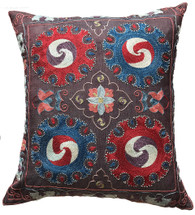 "Handwoven Hand Embroidered Silk Pillow 2 Uzbekistan (18"" x 20"")"