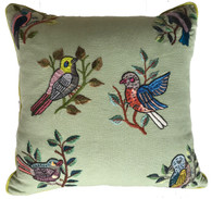 "Handwoven and Hand Embroidered Bird Pillow Sage by Rosa Guatemala (17"" x 17"")"