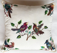 "Handwoven and Hand Embroidered Bird Pillow White Guatemala (18"" x 18"")"