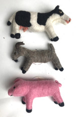 Handmade Wool Felt Farm Animal Collection Guatemala