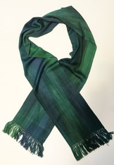 "Handwoven Bamboo Scarf Blue and Green Guatemala (8"" x 68"")"