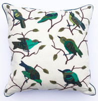 "Handwoven and Hand Embroidered Bird Pillow Greens 2 Guatemala (17"" x 17"")"