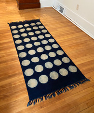 "Handmade Block Printed Natural Dyed Indigo Dot Canvas Runner Rug India (30"" x 72"")"