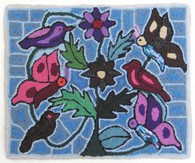 "Handmade Hooked Small Rug by Silvia  Bird and Butterfly  Guatemala (18"" x 22"")"