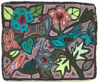 "Handmade Hooked Small Rug by Silvia Flower and Birds  Guatemala (18"" x 22"")"