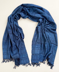 "Handwoven Silk and Wool Indigo Dyed Throw India (40"" x 92"")"