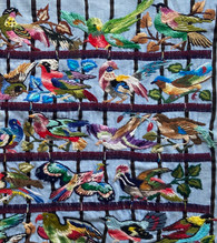 """Traditional Bird Hand Embroidery on Cotton Guatemala (25"""" x 14.5"""")"""