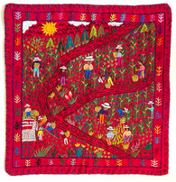 "Hand Stitched Story Cloth A Cotton Guatemala (18.5"" x 19"")"