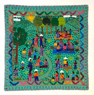 "Hand Stitched Story Cloth B Cotton Guatemala (19"" x 19"")"