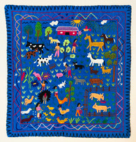 "Hand Stitched Story Cloth C Cotton Guatemala (19"" x 19"")"