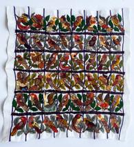 "Hand Embroidery Many Birds on Cotton Guatemala (14.5"" x 15"")"