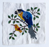 """Hand Embroidery Two Birds on Cotton Guatemala (12"""" x 11"""")"""