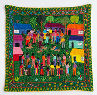 """Hand Stitched Story Cloth E Cotton Guatemala (18"""" x 18.5"""")"""