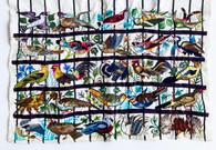 "Traditional Bird Hand Embroidery B  Guatemala (23"" x 32"")"