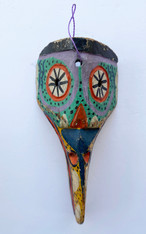 "Wooden Hand Carved Bird Mask  Guatemala ( 7""w x 13.5""t)"