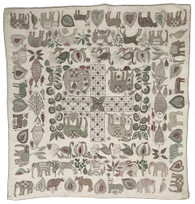 "Hand Kantha Stitched Animals and Plants Cotton India (36"" x 34"")"