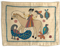 """Hand Stitched Kantha  Woman on Horse Cotton India (10"""" x 14"""")"""