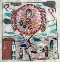 "Hand Embroidered Kite Story by Cipriana Guatemala (framed 15"" x 15"")"