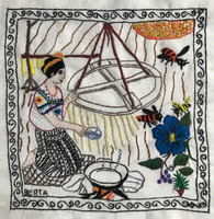 """Hand Embroidered Candle Making Story Guatemala (framed 15"""" x 15"""")"""