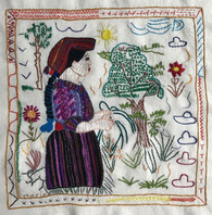 """Hand Embroidered by Maria Guatemala (framed 15"""" x 15"""")"""