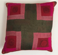 """Hand Quilted Reds Patchwork Silk Pillow A India (19"""" x 19"""")"""