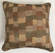 """Hand Quilted Copper Patchwork Silk Pillow A India (18"""" x 18"""")"""