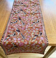 """Hand Stitched Silk  Kantha Bird Table Runner (17"""" x 70"""")"""