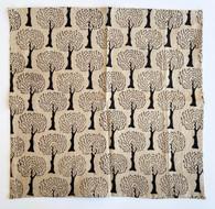 "Hand Block Printed Cotton Tree Napkins  India Set of 4 (16""x 16"")"