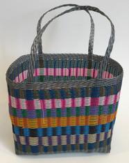 "Handmade Plastic Strip Market Basket 1 Guatemala (14"" x 12"")"