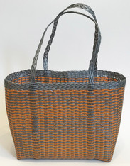 "Handmade Plastic Strip Market Basket 2 Guatemala (14"" x 12"")"