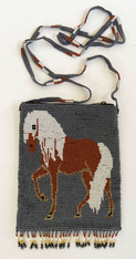 "Handmade Beaded  Horse Silver Shoulder Bag (5.5"" x 7"")"