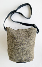 """Hand Stitched Kantha and Leather Bucket Bag India (11"""" x 11"""" strap 22"""")"""