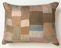 """Hand Quilted  Patchwork Tans Silk Pillow India (14"""" x 19"""")"""