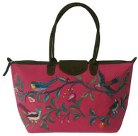 "Handwoven Embroidered Rose Santiago Satchel Guatemala (13"" x 24"")"