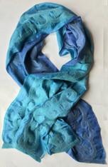 """Handmade Felted Silk Blue Shawl  Kyrgyzstan (23"""" x 76"""")"""